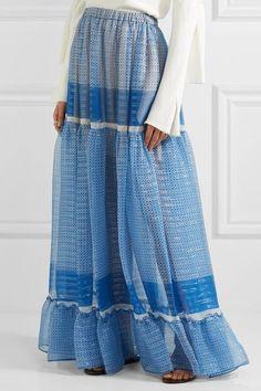 Stella McCartney - Elsa Tiered Printed Silk-blend Chiffon Maxi Skirt - Blue - IT42