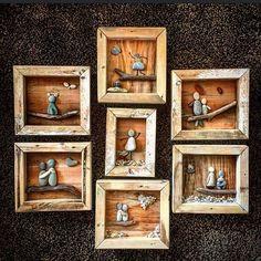 Drivvedrammer med artige motiver, gøy #drivved #driftwood #driftwoodart #drivvedfolket #driftwoodartist #namsos #namdalen #nrktrøndelag #homemade #homedecor #hjemmelaget #hjemmehosmeg #homesweethome #stones #stoneart