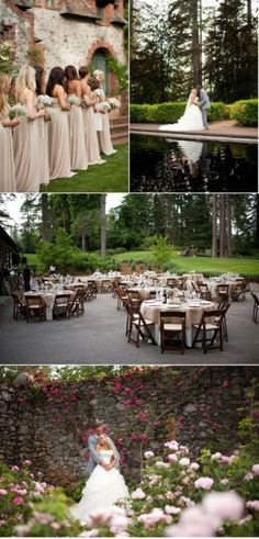 garden fountain backyard wedding poolside