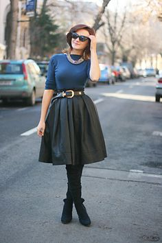 Discover this look wearing Black Pleather Skirts, Black OASAP Sunglasses - style full circle skirt by Chaba styled for Elegant, School in the Winter Circle Skirt Outfits, Full Skirt Outfit, Full Circle Skirts, Full Skirts, Modest Skirts, Party Fashion, Love Fashion, Trendy Fashion, Fashion Outfits