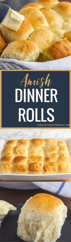 Amish Dinner Rolls - Homemade soft Yeast rolls recipe. These warm fluffy buns are the BEST. Made with instant mashed potato flakes, best served with any dinner comfort food. Adapted from an old Amish cookbook.