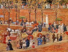 Pincian Hill, Rome 1898 by Maurice Prendergast. This is an example of a warm color scheme.