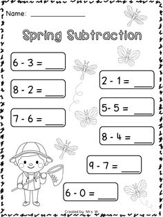 Spring Literacy and Math Printables - Kindergarten - Spring Subtraction