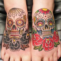 SEE MORE TWO BEAUTIFUL SUGAR SKULL TATTOO ON FEET