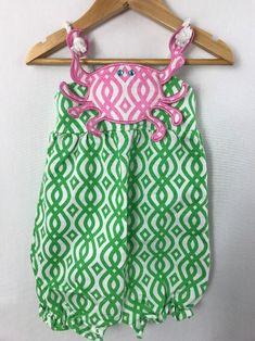 a84987d5b286 Mud Pie Beach Sunsuit Geometric Print Pink Green Crab Rope Romper 12-18  months