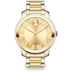 Movado Bold Goldtone IP Stainless Steel Bracelet Watch ($625) ❤ liked on Polyvore featuring jewelry, watches, apparel & accessories, gold, bracelet watches, movado wrist watch, stainless steel watches, bezel bracelet and movado watches