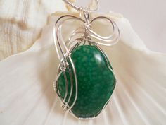 Wire Wrapped Pendant Green Dragon Vein Agate by elainesgems, $23.00