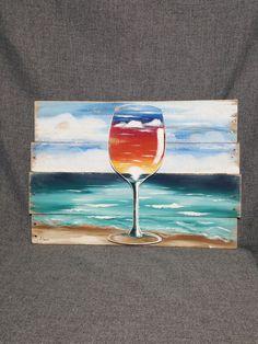 Arte de pintura paletas de playa vino la pintura de cristal