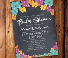 Printable Baby Shower Invitation  Chalkboard by SixDaysCreations