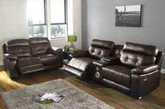 Available in both black and brown. Leather Sofa Set, Recliner, Sofas, Tgif, Chair, Brown, Parties, Friday, Furniture