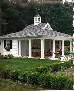 Pool House: large covered sitting area (enclosed pool storage/pump room and bathroom behind)