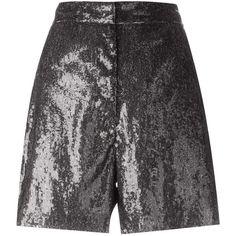 Mm6 Maison Margiela sequin shorts (€115) ❤ liked on Polyvore featuring shorts, grey, grey shorts, gray shorts, sequin shorts and mm6 maison margiela
