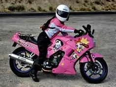 What girl wouldn't want a Powerpuff girls, barbie pink, ninja cute. I love the jacket,(already own one) but would need the decals gone, bling & rough it up a bit then add 1000 cc's & then I would ride it lol Pink Motorcycle, Motorcycle Outfit, Pit Girls, New Motorcycles, Biker Chic, Kawasaki Ninja, Biker Girl, Powerpuff Girls, Bike Life