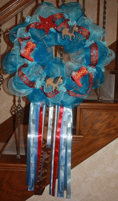 Matching wreath for the cowboy sheriff diaper cake