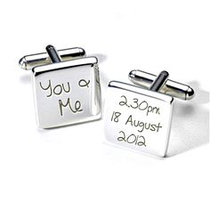 You & me wedding cufflinks engraved with the time of your big day