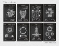 Nikola Tesla Patents Set of 8 Prints, Nikola Tesla Prints, Nikola Tesla Posters…