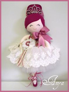 Anya ♥ Handmade Doll.....Ballerina $100 Full tulle tutu w. a stunning embroidered ivory lace overlay w. satin ribbon tie and ...
