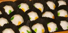 Mango Jalapeno Truffle:  White chocolate ganache with mango puree and bits of jalapeno peppers covered in a white chocolate shell.