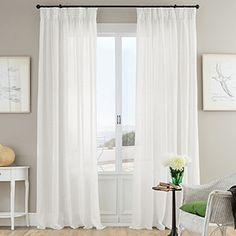 "Voile & Sheer Curtains - Natural Curtain Company- our fine white Linen ""Luce"" #naturalcurtaincompany #voile #sheer #summer"
