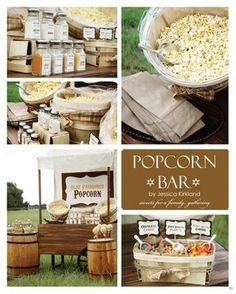 fall festival booth idea - the barrels and baskets mostly (not so much the popcorn)