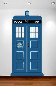 Large TARDIS Vinyl Wall Decal Free Shipping In the US. $95.00, via Etsy.