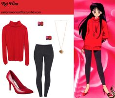 Love the red classic oversized cowl neck sweater with this red pumps. Must do in real life! Sailor Moon Outfit, Sailor Moon Cosplay, Sailor Outfits, Casual Cosplay, Cosplay Outfits, Anime Outfits, Anime Inspired Outfits, Character Inspired Outfits, Sailor Moons