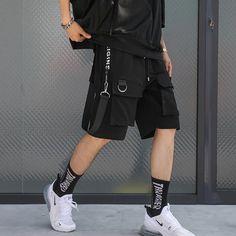 Hip Hop Summer Men's Black Ribbons Streetwear Bermuda Zipper Pockets S – TopFashionova