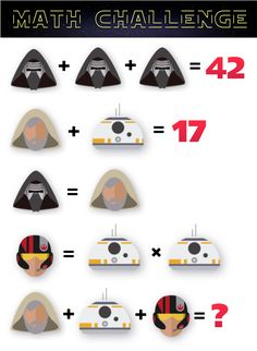 Can Your Students Solve These Star Wars Math Problems? Kids Math Worksheets, Maths Puzzles, Chess Puzzles, Printable Worksheets, Fun Math Games, Math Activities, Math Talk, Math Challenge, Math About Me