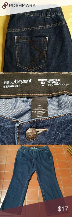 Lane Bryant jeans Lane Bryant Tighter Tummy Control dark jeans. Used but in great condition.  Size 20 Average  Inseam 32 Lane Bryant Jeans Straight Leg