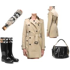 If you have your umbrella on hand, don't worry too much about a 100% waterproof jacket - http://www.massaboutique.eu/ -  #burberry #umbrella #trench #boots #rainy #michael kors