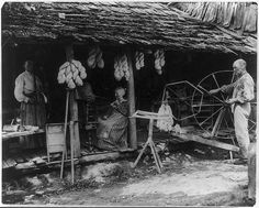 The Faust family at work, Anderson County, TN, ca. 1910    Photograph shows people spinning and winding wool in front of a cabin. From right to left: elderly man standing at walking wheel, skein winder equipment, Mary Faust seated on porch with spinning wheel, another woman standing on porch with wool carders and rifle. Skeins of wool hang off the roof of the porch. Library of Congress