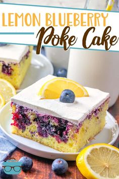 Lemon Blueberry Poke Cake starts with a boxed cake mix and is topped with the most amazing blueberry sauce and a lemon curd whipped topping! Poke Cake Recipes, Poke Cakes, Cookie Recipes, Cupcake Cakes, Dessert Recipes, Cupcakes, Blueberry Desserts, Blueberry Sauce, Lemon Cake Mixes