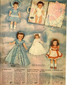 1954 Ideal doll Advertisement....I had one of those darling Betsy presentation kits when I was about three years old....the first doll I ever remember! My mother made her a sweater and hat