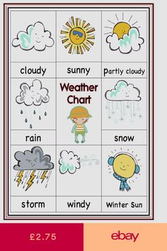Other Educational Toys Toys & Games Cloudy Weather, Weather Seasons, A4 Poster, Eyfs, Educational Toys, Baby Toys, Chart, Stitch, Games