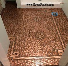 penny floor, penny tile floor, copper tile                                                                                                                                                                                 More