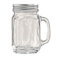 Taking inspiration from old-fashioned mason jars, this set of 4 handled drinking glasses feature twist-off lids.     Product: Set of 4 handled glassesConstruction Material: Glass and metalColor: Clear and silverFeatures: 11 Ounce capacity eachCleaning and Care: Dishwasher safe
