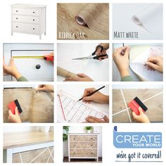 A quick makeover for these drawers, using our warm woodgrain called Ribbeck Oak and adding geo lines using Matt White - simple yet effective! Ikea Furniture Hacks, Furniture Makeover, Furniture Decor, Hemnes, Dc Fix, Sticky Back Plastic, Plastic Design, Wrap, Ikea Hack