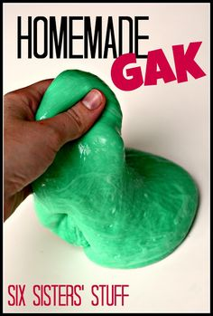 Homemade Gak- only takes 4 ingredients, comes together in minutes, and entertains kids for hours! SixSistersStuff.com