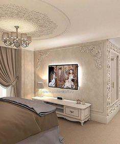 E-Mail - Ana Lúcia Garcez - Ausblick, tv wall design, Luxury Bedroom Design, Master Bedroom Design, Luxury Interior Design, Home Bedroom, Bedroom Decor, Bedroom Ceiling, House Ceiling Design, House Design, Living Room Designs