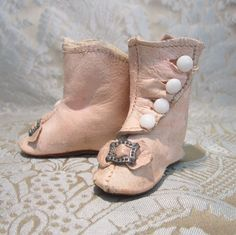 Pink Kid Boots for Antique German Child Doll dress doll clothes outfit costumes