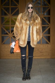 How Street-Style Stars Wear Fur Coats   StyleCaster