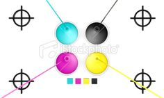 CMYK liquid inks and target Royalty Free Stock Photo