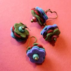 Soft earrings- might be felt or felted wool?