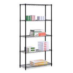 Honey-Can-Do Industrial Adjustable Storage Shelving Unit with 2 Black Garage Organizers Shelving Units NULL furniture shelves furniture couch furniture for kids furniture patio Closet Shelving Units, Heavy Duty Storage Shelves, Steel Shelving Unit, Wire Shelving Units, Shelving Systems, Garage Storage, Storage Spaces, Storage Shelving, Metal Shelving