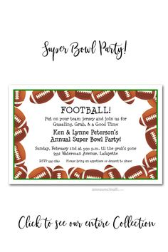 A border of footballs makes perfect Super Bowl party invitations, college football game invitations, football tailgating invitations, football themed birthday party invitations or fundraising event invitations. Birthday Party Invitations, Birthday Party Themes, Football Invitations, Invites, Super Bowl Quotes, College Football Games, Fundraising Events, Big Game, Join