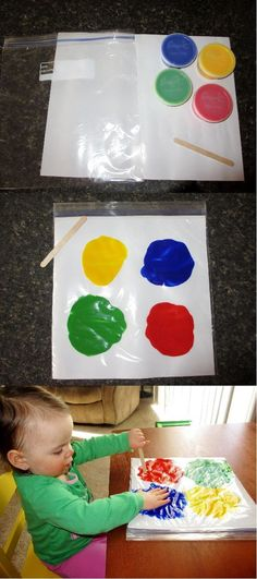 Mess-Free Finger Painting *Finger Paints *Finger Paint Paper (cut to fit inside of bag) *Ziplock Bag *Clear Packing Tape (to seal top of bag) *Popsicle stick: