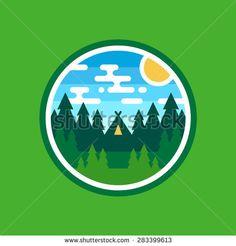 Round woods badge camping illustration emblem logo design