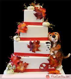 Fall Themed Wedding Cake with Doggy by Pink Cake Box in Denville, NJ.  More photos and videos at http://blog.pinkcakebox.com/fall-themed-wedding-cake-with-doggy-2011-10-16.htm