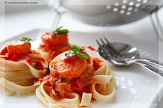 Spaghetti with shrimps - one of my favourite!
