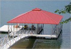a backyard boat dock with extra slips